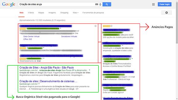 Busca de criação de sites no google