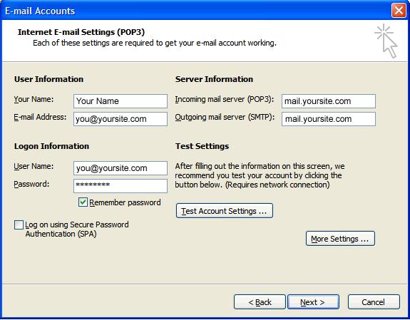 Configurar seu e-mail Profissional no Outlook 2003
